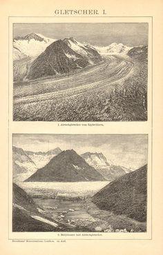 1895 Glaciers Aletsch Glacier Märjelensee Rhone Glacier