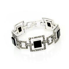 Buy the Art Deco Double Square Bracelet with matching earrings and necklace available. Part of our Art Deco inspired jewellery at English Heritage online gift shop. Art Deco Period, Art Deco Era, Online Gift Shop, Online Gifts, Silver Dip, Marcasite Jewelry, English Heritage, Timeless Elegance, Gift For Lover