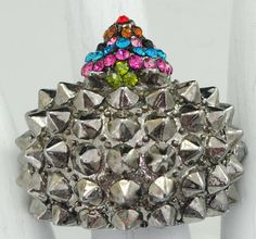 Spiked Hedgehog Ring/Silver/Multicolor/Rhinestone/Colorful
