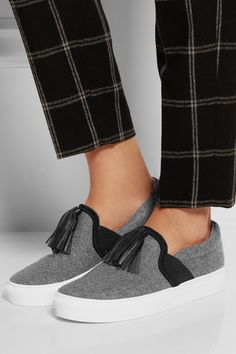 free shipping 05646 6419a Lanvin - Leather-tasseled brushed wool-felt slip-on sneakers