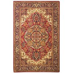 Safavieh Classic Collection Handmade Traditional Oriental Light Gold and Red Wool Area Rug x Oriental Wool Rugs, Classic Rugs, Wool Rug, Navy Wool Rugs, Wool Area Rugs, Tufted, Safavieh, Colorful Rugs, Hand Tufted Rugs