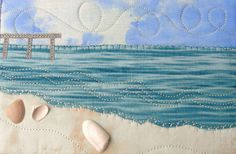 Pier at the Beach Fabric Postcard Art Quilt Beach by SewUpscale, $13.00