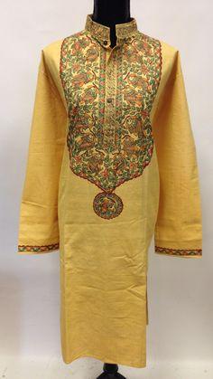 Hand Painted Madhubani Design Linen Long Kurta-Yellow