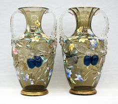 Pair Moser Floral Enameled Art Glass Handled Vases with : Lot 9