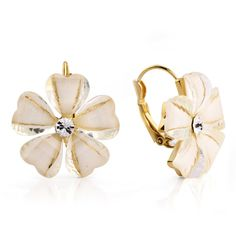 Beige Bloom Stud Earrings