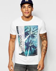 Image 1 of ASOS T-Shirt With Palm Square Print In Slubby Fabric