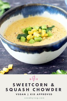 Deliciously creamy squash and sweetcorn chowder. Suitable for vegans and vegetarians. Sweetcorn Fritters Recipe, Sweetcorn Bake, Chicken And Sweetcorn Soup, Hot Dog Recipes, Coffee Recipes, Soup Recipes, Kid Recipes, Casserole Recipes