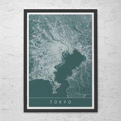 TOKYO MAP PRINT  Modern City Print Art  by EncoreDesignStudios