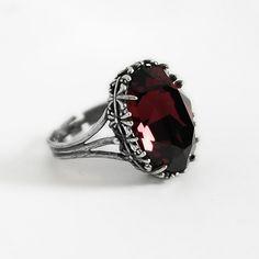 Burgundy Gothic Ring