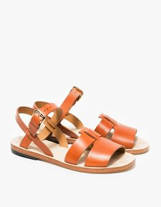 From A.P.C., a classic sandal in Hazelnut. Features refined leather straps, gold-toned buckle closure, branded leather sole and rubber heel.  • Classic sandal in Hazelnut • Leather straps • Gold-toned buckle closure • Branded leather sole • Rubber h