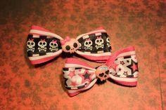 Skullz n Stars Hair Bows  Pink by RiotGearHairBows on Etsy, $10.00