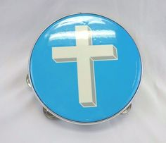 REMO Tambourine Light Blue White Cross Spiritual Church Percussion Instrument  #REMO