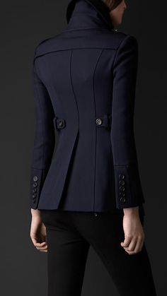 Shawl Collar Fitted Pea Coat in Ink | Burberry: Prorsum Collection