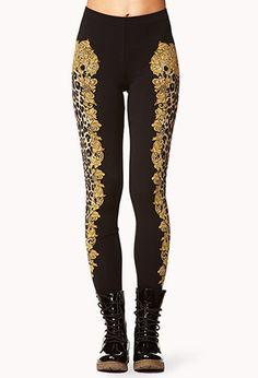 Framed Leopard Print Leggings