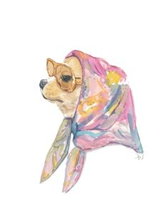 Chihuahua Watercolor Painting - Original Dog Watercolour - Vintage Vacation, 8x10 Illustration