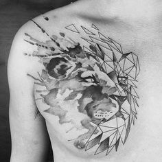 Dec 2017 - Discover a timeless symbol of strength, pride and loyalty with the top 60 best geometric lion tattoo designs for men. Lion Chest Tattoo, Mens Lion Tattoo, Geometric Tattoo Chest, Geometric Tattoo Design, Elegant Tattoos, Trendy Tattoos, Lion Tattoo Design, Tattoo Designs Men, Watercolor Lion Tattoo