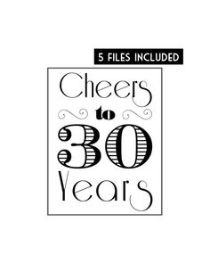 """decorations for roaring 20s {say goodbye to the roaring 20s} party -Signs - """"Cheers to 30 Years"""""""