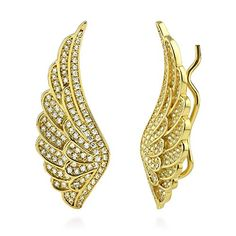BERRICLE Yellow Gold Plated Sterling Silver Cubic Zirconia CZ Angel Wings Fashion Ear Crawlers >>> You can get additional details at the image link. (This is an affiliate link) Cuff Jewelry, Cuff Earrings, Gold Plated Earrings, Crystal Earrings, Sterling Silver Earrings, Gold Jewelry, Wing Earrings, Cz Jewellery, Diamond Jewelry