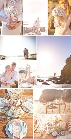 Robyn Preston imagines a world a wild romance, with Sydney and Grant at the center of this beach inspired shoot. Combining shells, glitter, gold and vintage jewelry, this sunset beach wedding is full of fantastic DIY details for brides looking to get hitched seaside.  Seashell and starfish bouquet