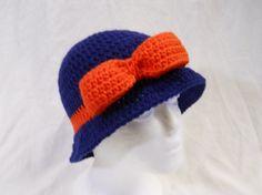Ladies Broncos Inspired Crochet Bucket Cloche Hat by CDBSTUDIO, $34.99