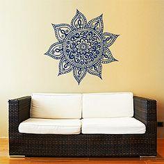 Mandala Wall Decal Yoga Studio Vinyl Sticker Decals Ornament Moroccan Pattern Namaste Lotus Flower Home Decor Boho Bohemian Wall Decal Bedroom Dorm ZX179