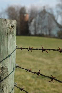 barbed wire country fence