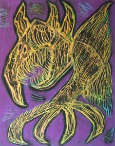 """""""Demone corvo"""" 2014 Tecnica mista su cartoncino 48x38 ©Pietro Gragano"""
