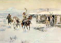 Christmas at the Line Camp by Charles Marion Russell