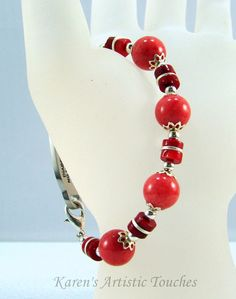 Red Coral Gemstone Silver Medical ID Alert Bracelet on Etsy, $16.00