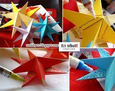 Nous avons utilisé du papier de couleur. Il est si différent et festif lorsqu'il est embelli avec de la peinture! Et les étoiles fo...