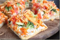 Veggie Bars-make with whole wheat crust and low fat cream cheese...would be good for lunches