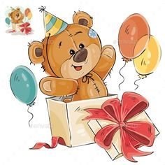 Buy Vector Illustration of a Brown Teddy Bear Peeking by vectorpocket on GraphicRiver. Vector illustration of a brown teddy bear peeking out of a gift box. Clipart Baby, Birthday Clipart, Birthday Wishes, Birthday Cards, Tatty Teddy, Happy Birthday Teddy Bear, Happy Birthday Images, Brown Teddy Bear, Cute Teddy Bears