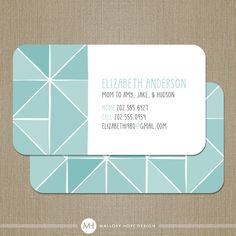 Geometric Business Card / Calling Card / Mommy Card / Contact Card - Interior…