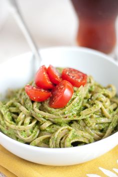 Pasta Party! Set up a pasta bar using a Keller 3 Plate Swivel Stand from Fine Home Displays, and serve up 3 different pasta dishes like this one! This Arugula Walnut Pesto is colorful and tasty! Sure to be a crowd pleaser!