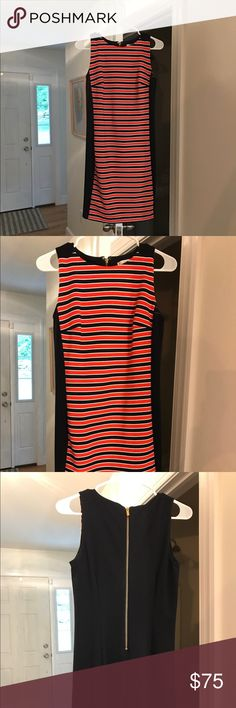 Michael Kors Dress Blue, orange, and white striped Michael Kors dress. Gold zipper down the back. No tags but never worn. Size 2. Open to offers! Michael Kors Dresses