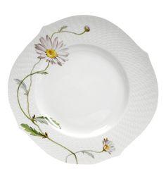 "Dinner plate, Shape ""Waves relief"", Flower painting marguerite, ø 28,5 cm"