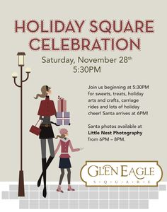 Santa is on his way to Glen Eagle Square! Join us for the Annual Holiday Square Celebration on Saturday, November 28 starting at 5:30pm. Get your picture made with Santa, curtesy of Little Nest Portraits, from 6 to 8pm, and enjoy sweets, treats, holiday arts and crafts, carriage rides and lots of holiday cheer!