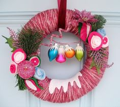 Frosted Fuschia 14 inch  Yarn Wreath Felt by KnockKnocking on Etsy, $70.00