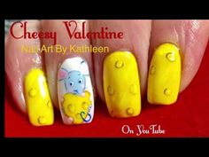 Cute Valentine's Day Nail Art - Mouse And Cheese - Freehand - YouTube