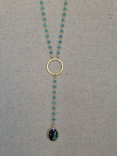 Aqua chalcedony rosary style necklace with labradorite pendant