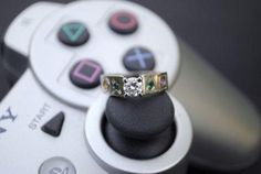 For Ultimate Gamer Girls 23 Adorkable Wedding Rings for Geeks in Love Video Game Wedding, Wedding Games, Wedding Advice, Wedding Humor, Wedding Ideas, Wedding Photos, Wedding Inspiration, Geek Wedding Rings, Wedding Band