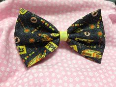 Halloween Glitter Tricks and Treats Fabric Hair Bow