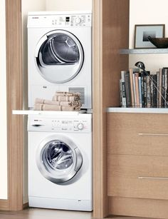 Stacked washer dryer with ikea pax | Laundry room | Pinterest ...
