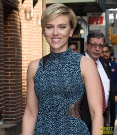 Scarlett Johansson stepping into the studio for an appearance on The Late Show with Stephen Colberton Tuesday (June 13, 2017) in New York City, for her new movie Rough Night.