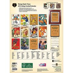 The 2015 Vintage Baylor Bears Football Calendar features archival-quality images of vintage game-day football program art from the early 1900s-1960s. Description from calendars.com. I searched for this on bing.com/images