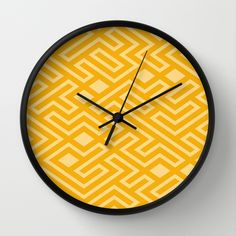 Gold mosaics geometric print wall clock by khoncepts.com