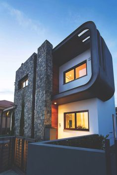The Laiki Lefkothea Residence by Tsikkinis Architecture Studio in Limassol, Cyprus is a contemporary home with a bold facade. Modern Architecture Design, Modern Buildings, Beautiful Architecture, Interior Architecture, Modern Houses, Two Story House Design, Design Exterior, Building Exterior, Beautiful Homes