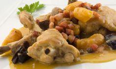Receta de Conejo en salsa con frutas pasas