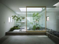 Modern indoor Courtyard Design and Landscaping glass sliding door