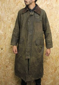 VINTAGE OLIVE GREEN BARBOUR BURGHLEY WAX LONG COAT - 38 INCH